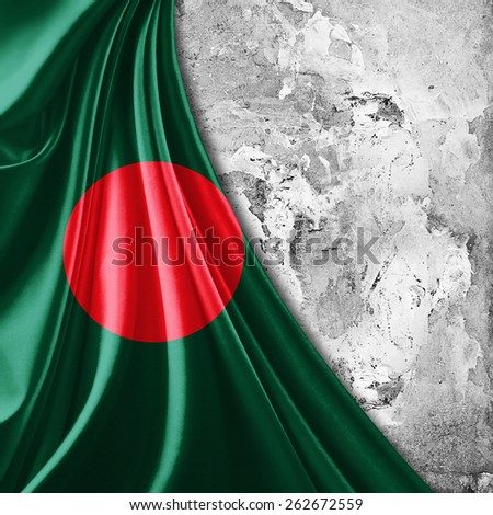 Bangladesh flag and wall background - stock photo