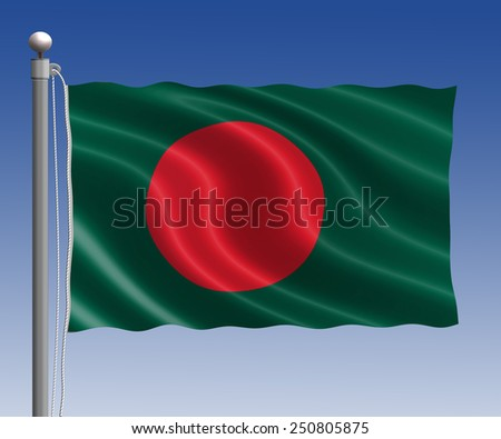 Bangladesh flag in pole on blue sky background - stock photo