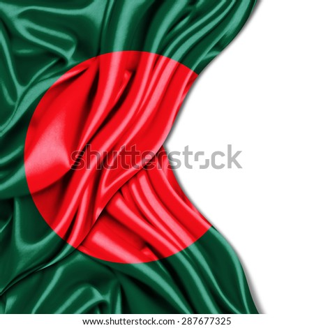 Bangladesh flag of silk and white background - stock photo