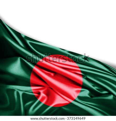 Bangladesh flag of silk with copyspace for your text or images and white background