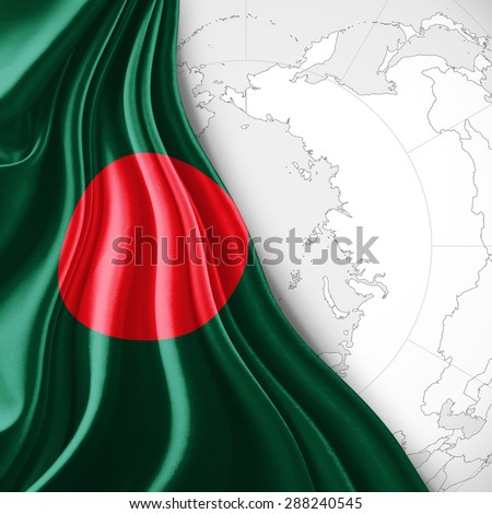 Bangladesh flag of silk with world map and white background - stock photo