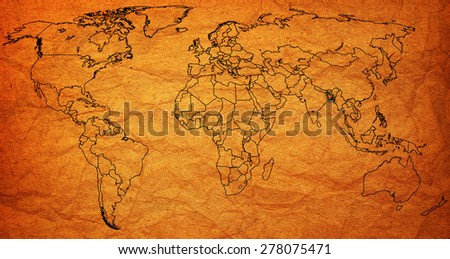 bangladesh flag on old vintage world map with national borders - stock photo