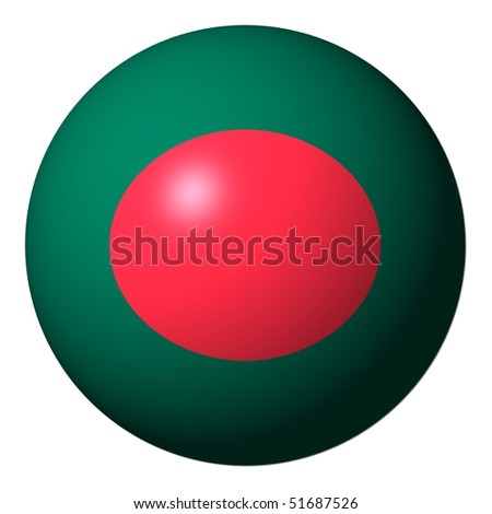 Bangladesh flag sphere isolated on white illustration - stock photo