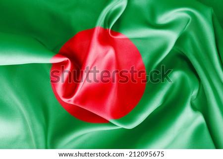 Bangladesh flag texture crumpled up - stock photo