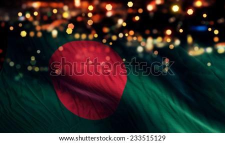 Bangladesh National Flag Light Night Bokeh Abstract Background - stock photo