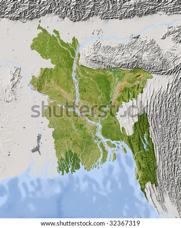 Bangladesh. Shaded relief map. Surrounding territory greyed out. Colored according to vegetation. Includes clip path for the state area.