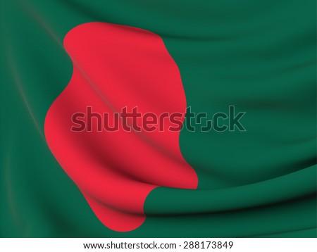 Bangladesh silk flag , close up with gentle  harmonics waves - stock photo