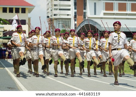 Bangprok Phatumtani Thailand June 22 2016 : The special boy scout club of Samkok school join 'The parade contest' on 22 June 2016 in Phatumwilai school Bangprok Thailand. result They are the winner.