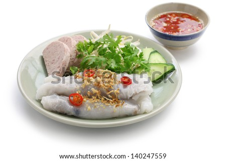 banh cuon, vietnamese steamed rice noodle roll, vietnamese popular breakfast food - stock photo