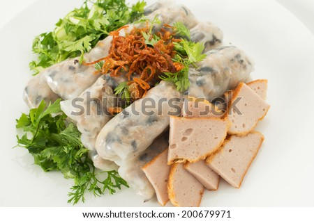 Banh cuon, Vietnamese steamed rice noodle rolls - stock photo