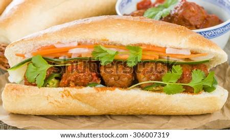 Banh Mi Xiu Mai Vietnamese Sandwich With Meat In Tomato Sauce Do Chua