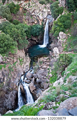 Banias Falls in the winter at the Golan Heights .Israel . - stock photo