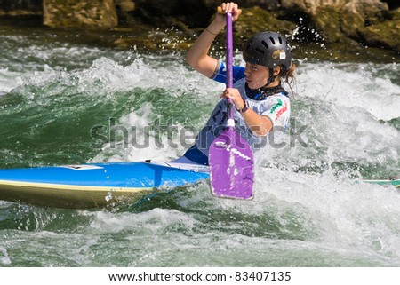 BANJA LUKA, BOSNIA AND HERZEGOVINA - JULY 16: An unidentified athlete from Italy competes at European Junior and U23 Canoe Slalom Championships on July 16, 2011, Banja Luka, Bosnia/Herzegovina.