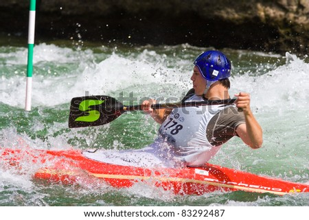 BANJA LUKA, BOSNIA & HERZEGOVINA - JULY 16: An unidentified athlete from Serbia competes at European Junior & U23 Canoe Slalom Championships on July 16, 2011 in Banja Luka, Bosnia & Herzegovina. The event from July 14-17, 2011.