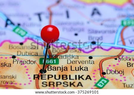 Banja Luka Pinned On Map Bosnia Stock Photo 375269101 Shutterstock