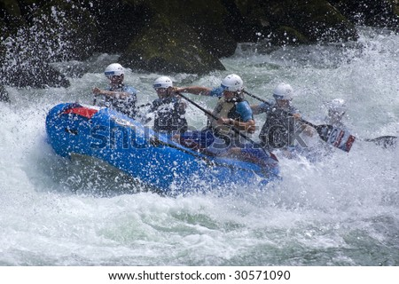 BANJA LUKA, REPUBLIKA SRPSKA, BOSNIA - MAY 18: An unidentified team practices at the first day of training for all teams at World Rafting Championship Banja Luka 2009 May 18, 2009 in Banja Luka.