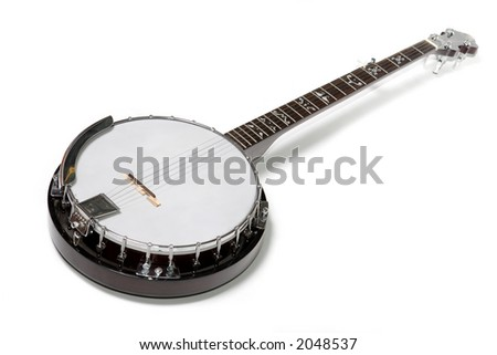 banjo isolated on a white background. Musical instrument. - stock photo