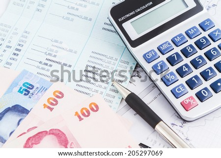 bank account book and banknote - stock photo