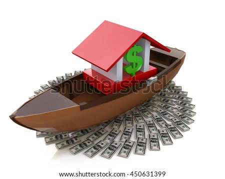 bank afloat in the design of information related to finances and wealth. 3d illustration - stock photo
