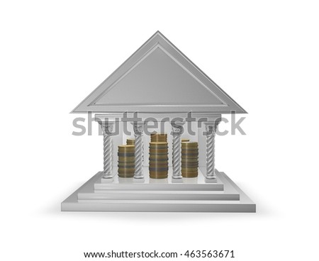 Bank and coin piles inside.