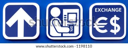 Bank ATM money exchange signs symbols - stock photo