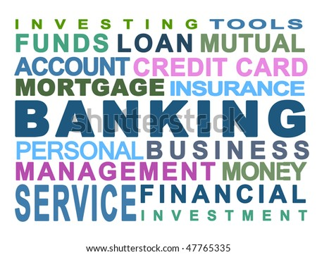 Bank. Banking. Money. Personal. Business. White background