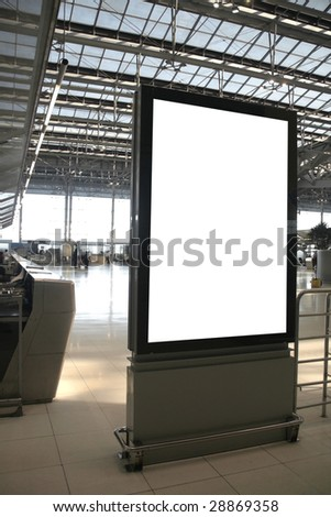 Bank billboard in airport - stock photo