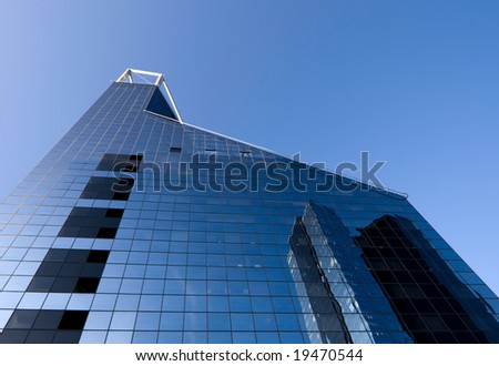 Bank building and blue sky horizontal - stock photo