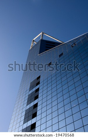 Bank building and blue sky vertical - stock photo
