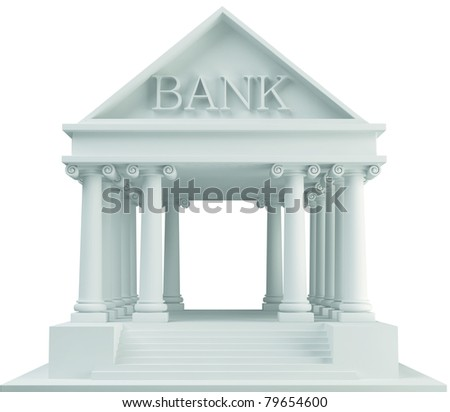 Bank building 3d on white