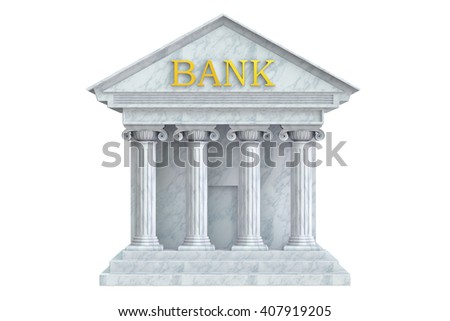 Bank building, 3D rendering isolated on  white background
