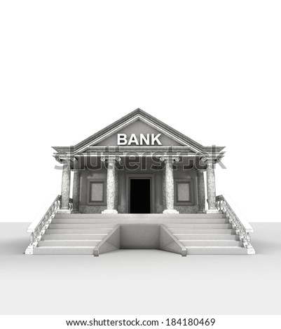 bank building isolated on white in classic style render illustration - stock photo