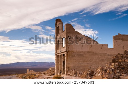 Bank Building Ruins of Rhyolite Nevada Death Valley Ghost Town - stock photo