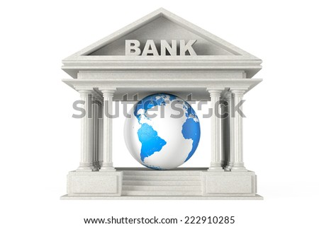 Bank Building with Earth Globe on a white background