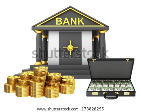Bank building with gold coins isolated on white background - stock photo