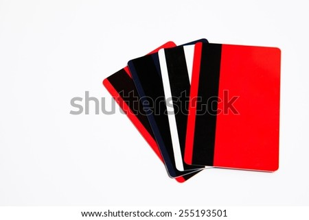 Bank cards isolated on white background - stock photo