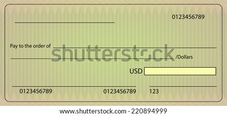 Bank check blank order. Vector stock illustration - stock photo