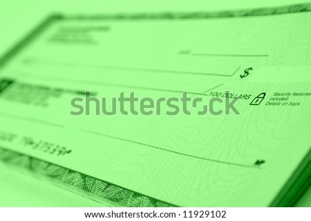bank check - narrow focus - stock photo
