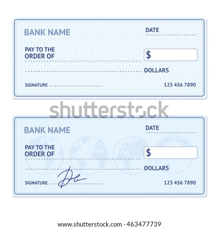 Bank Check Template Set Blank Form Stock Vector 435823327