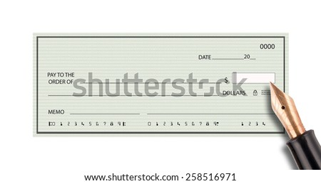 Bank check with fountain pen signing - stock photo