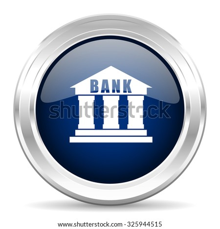 bank cirle glossy dark blue web icon on white background - stock photo