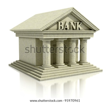 bank 3d icon - stock photo