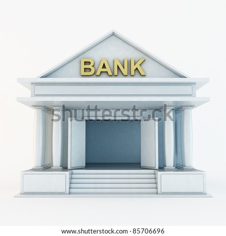 Bank 3d icon isolated on white - stock photo