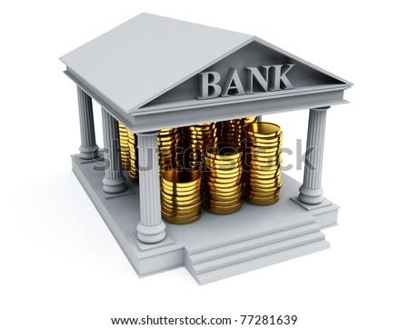 Bank 3d render - stock photo