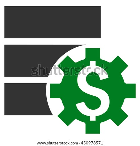 Bank Database Options glyph icon. Style is bicolor flat symbol, green and gray colors, white background.