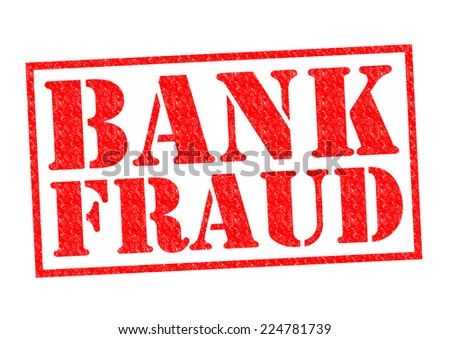 BANK FRAUD red Rubber Stamp over a white background.