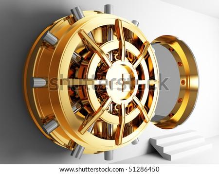 bank golden vault door 3d - stock photo