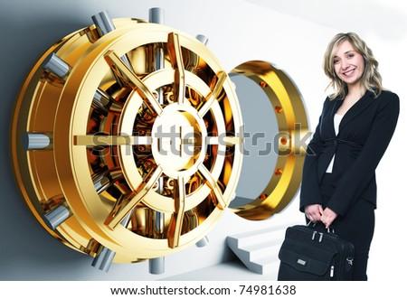 bank golden vault door 3d and smiling woman - stock photo