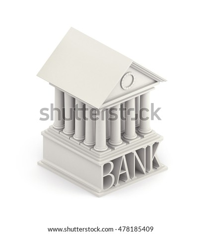 Bank Icon. Bank 3d building icon. 3d illustratio