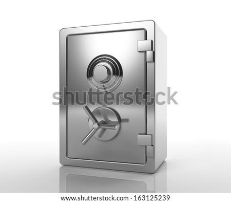 Bank locked safe isolated on white - stock photo